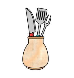Grill cutlery in pot vector