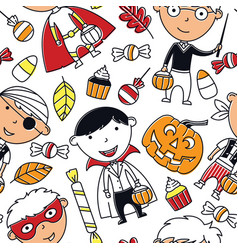 happy boys in halloween costumes with sweets vector image vector image