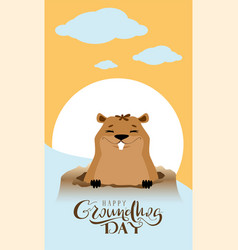 Happy groundhog day text greeting card marmot got vector
