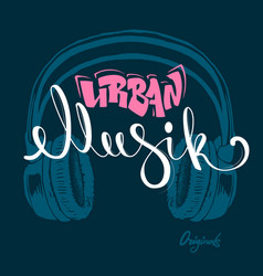 Headphone urban musik hand drawing grunge vector