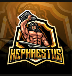 Hephaestus esport mascot logo design vector