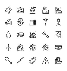 Industrial line icons 4 vector