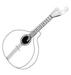 Isolated portuguese guitar outline vector
