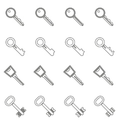 Key icons set in thin line style vector image
