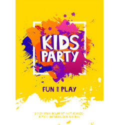kids party letter sign poster cartoon letters and vector image
