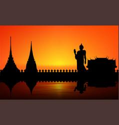 Landscape temple at river in thailand in su vector