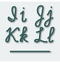 Letters I J K L - handwritten alphabet of rope vector