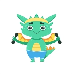 Little Anime Style Baby Dragon Exercising With vector