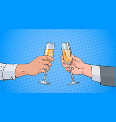 male couple hands clinking glass of champagne wine vector image