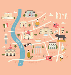 Map rome with famous symbols vector
