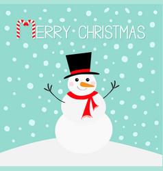 Merry christmas candy cane snowman carrot nose vector
