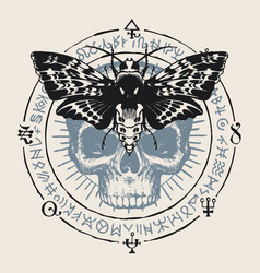 Occult hand-drawn banner with moth and human skull vector