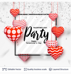party text in a frame and 3d hearts on white vector image