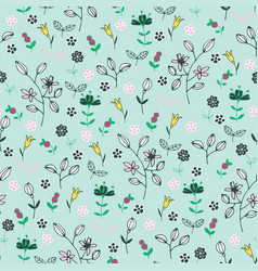 Pattern with berries and flowers vector