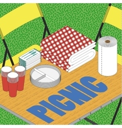 Picnic on grass ilustration vector