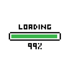 pixel loading 99 percent loading bar vector image