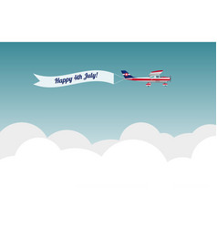 Plane with banner happy 4th july vector