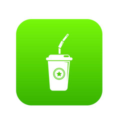 plastic glass juice icon green vector image