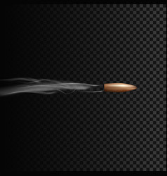 Realistic bullet in motion with smoke effect vector