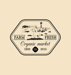 Retro family farm logotype organic premium vector
