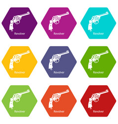 revolver icons set 9 vector image
