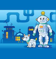 Robot theme image 4 vector