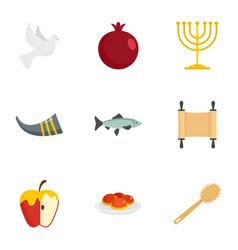 rosh hashanah icon set flat style vector image