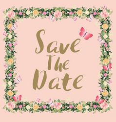 Rustic blossom flowers save the date wedding vector