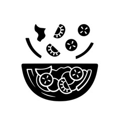 salad bowl glyph icon fresh organic food vegan vector image