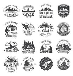 Set canoe hiking kayak and camping club badge vector
