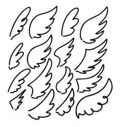set hand drawn doodle wings design elements vector image