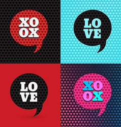 Set of 4 valentines day and typography elements B vector