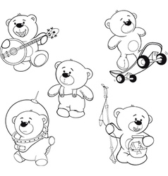 Set of bears Coloring book vector