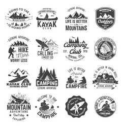 Set of canoe hiking kayak and camping club badge vector