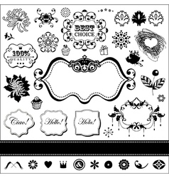 Set of engraving elements vector image