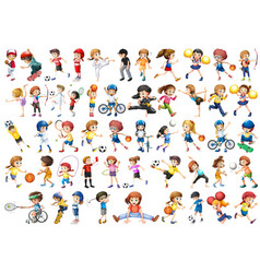 Set sport kids character vector
