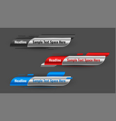 Shiny news lower third banners set three vector