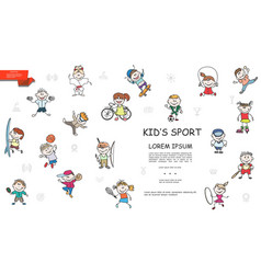 sketch kids sport colorful collection vector image