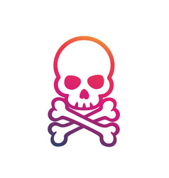 skull and bones on white vector image vector image