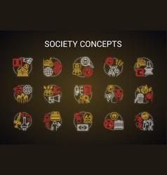 Society neon light concept icons set social vector