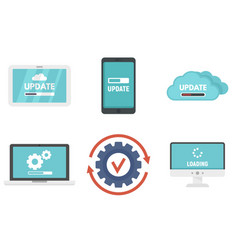 System update icons set flat style vector