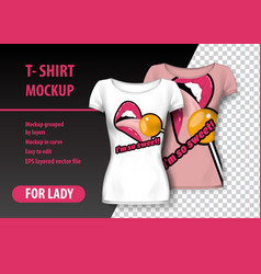 T-shirt mockup with sweets and funny phrase in vector