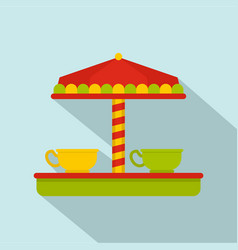 tea cup carousel icon flat style vector image