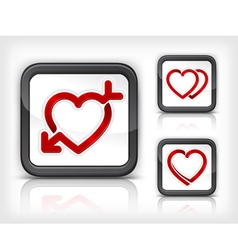 three heart button vector image
