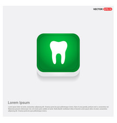 tooth icon green web button vector image