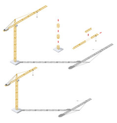 tower crane with adjustable boom length and tower vector image