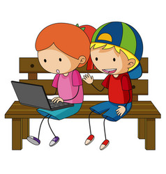 Two kids working on laptop computer vector
