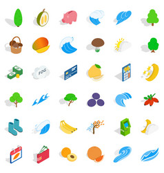 vital icons set isometric style vector image