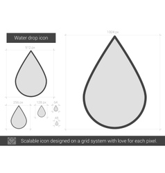 Water drop line icon vector image
