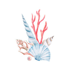 Watercolor coral composition vector